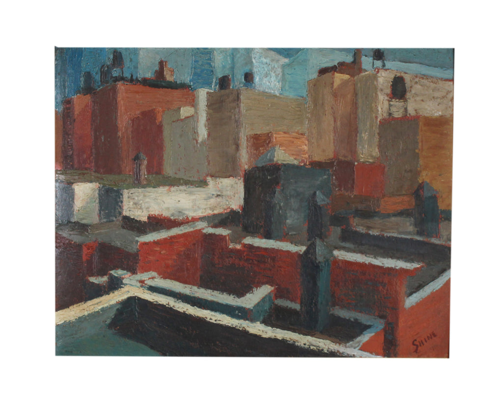 Carolyn Shine Signed Mid-Century Oil on Board Cityscape