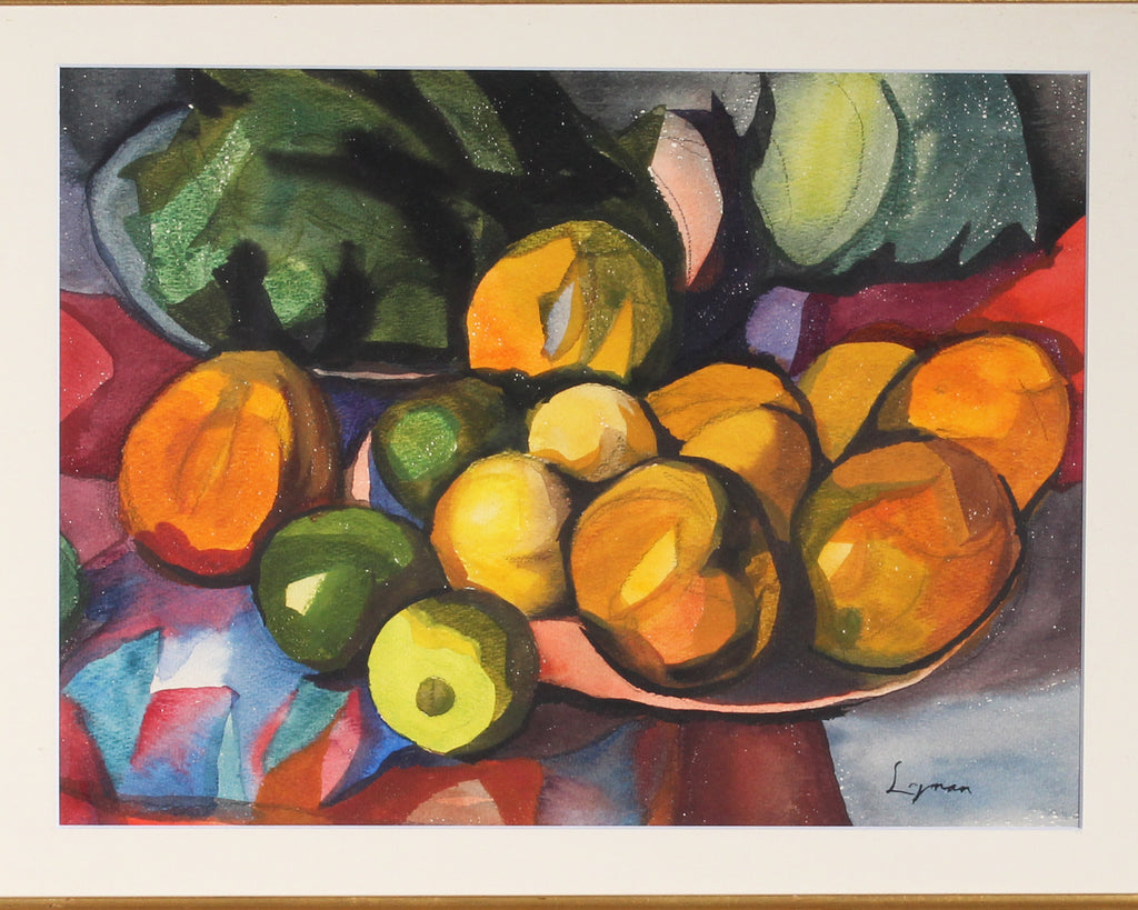 Frederick Lyman Signed Watercolor Abstract Still Life of Fruit