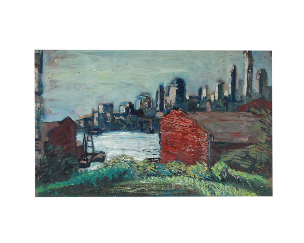 Carolyn Shine Mid-Century Oil Painting of a City and Country Scene
