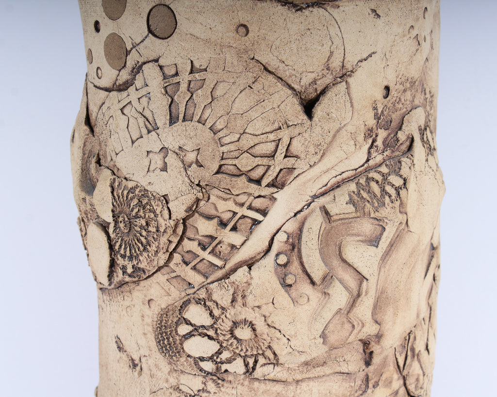G. Gordon Signed Art Pottery Vase with Incised Designs