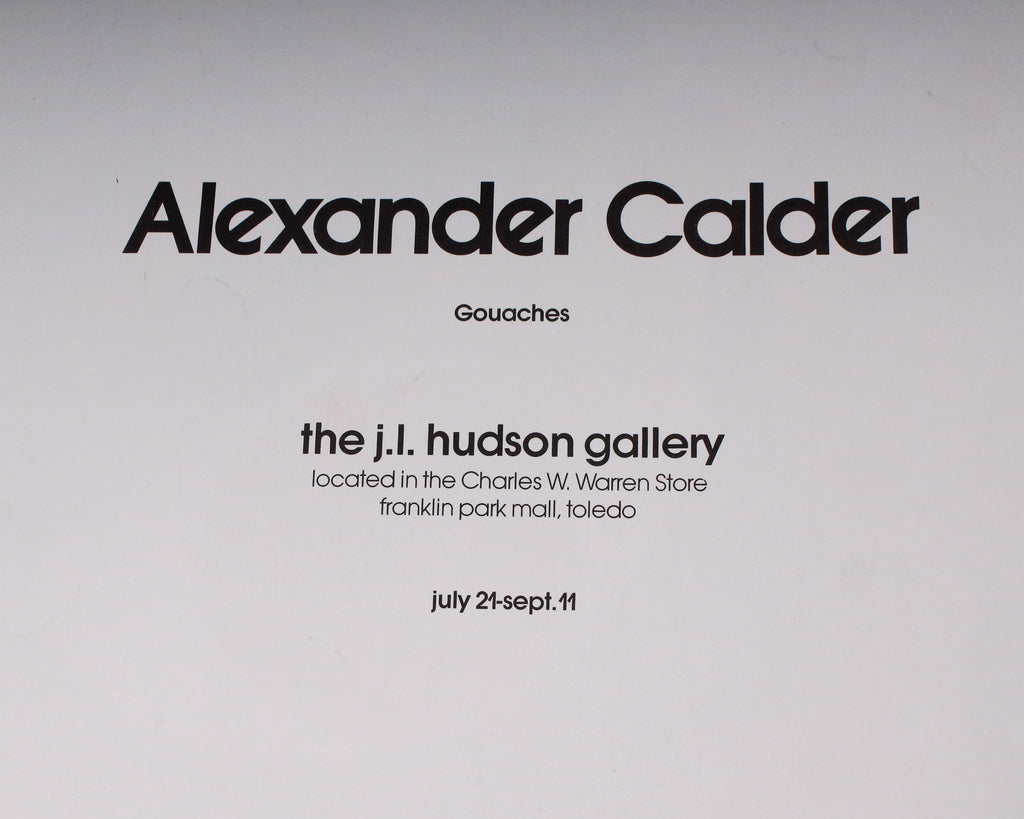 Alexander Calder Lithograph Exhibition Poster from J. L. Hudson Gallery