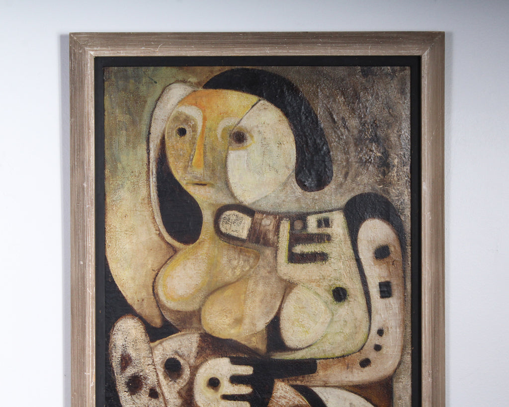 Moshe Agmon 1962 Signed Oil on Canvas Abstract Painting of a Figure