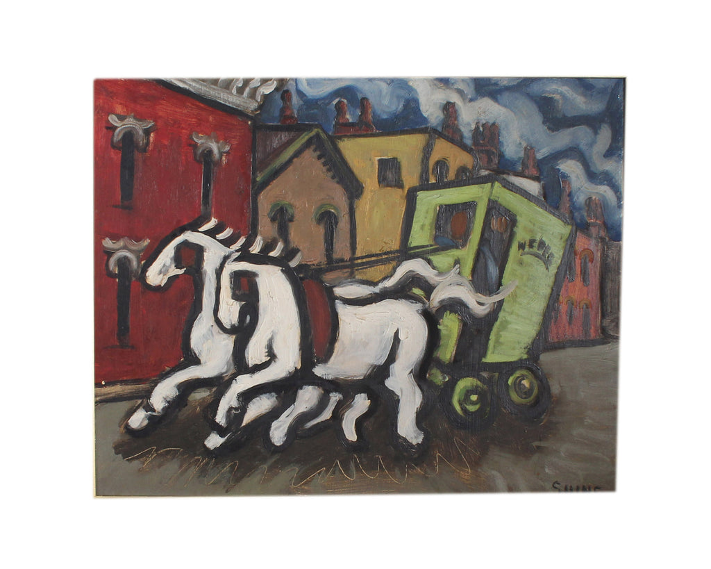 Carolyn Shine Signed Mid-Century Oil on Board Cityscape with Horse and Carriage