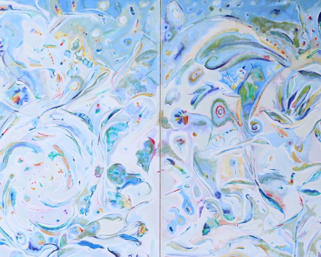 Ronald D. Newman Signed Two-Panel Oil on Canvas Abstract Painting