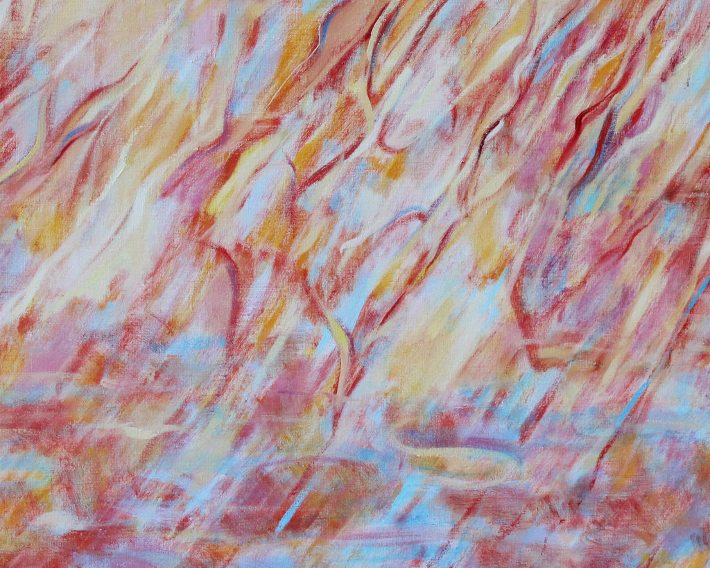 "Ronald D. Newman 1996 Two-Panel Oil on Canvas ""Fire"" Abstract Painting"