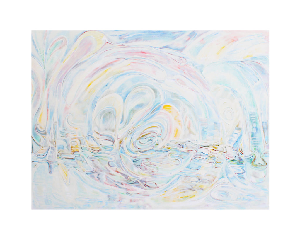 "Ronald D. Newman 2002 Signed Oil on Canvas ""Waters Above the Heavens"" Abstract Painting"