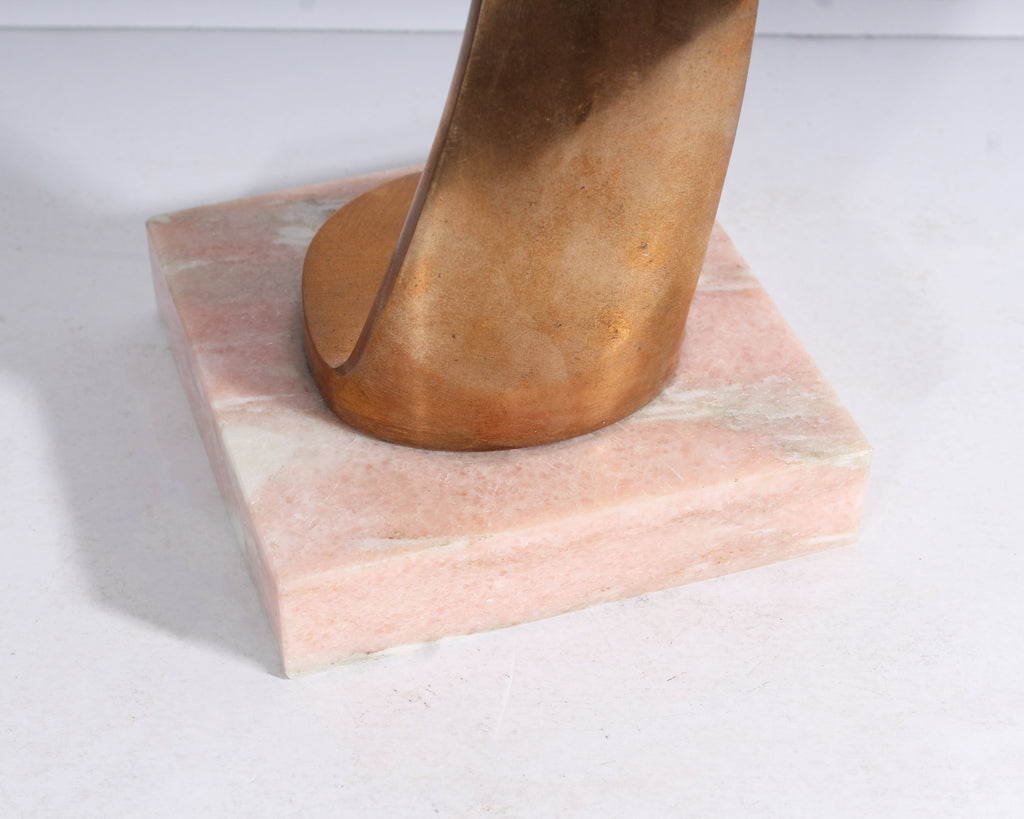 Egon Weiner Signed Bronze Flame Sculpture on Stone Base