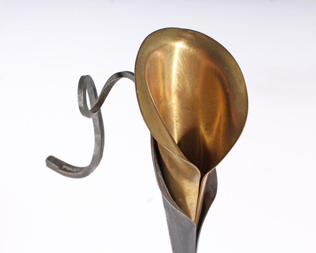 Jack Brubaker Steel and Brass Calla Lily Candleholder
