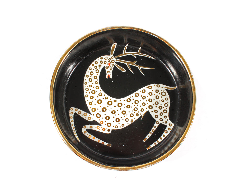 Waylande Gregory Signed Dish with Leaping Deer