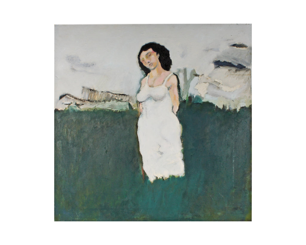 Ronald D. Newman Signed Oil on Canvas Abstract Painting of a Woman