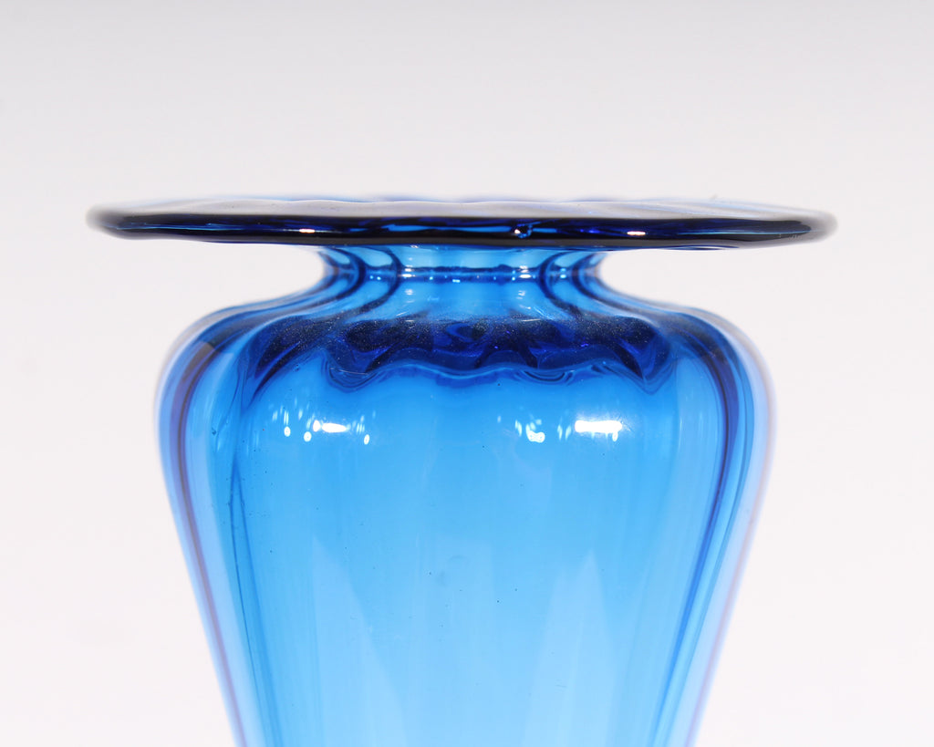 Young & Constantin Signed Art Glass Blue Vase