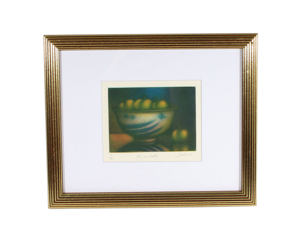 "Laurent Schkolnyk Signed Limited Edition ""Les Mirabelles"" Still Life Mezzotint"