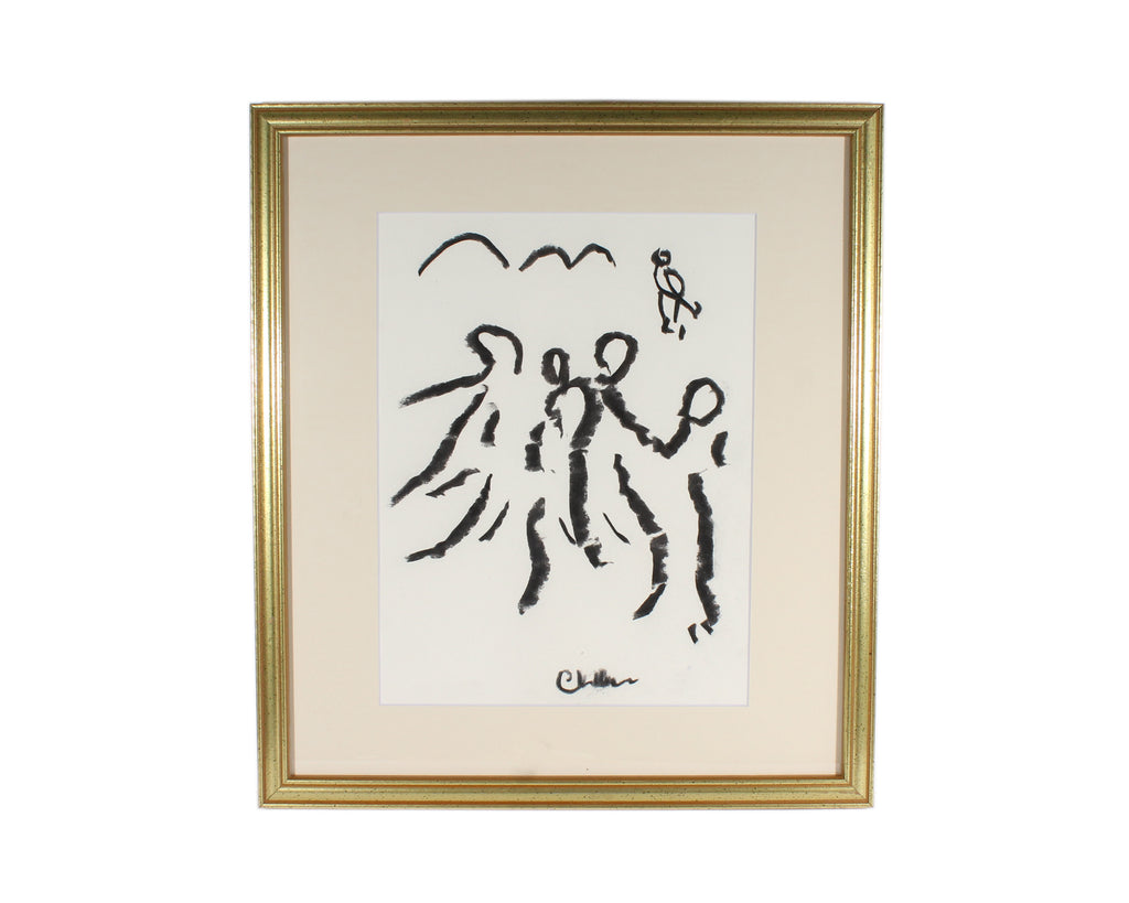 Paul Chidlaw Signed Abstract Charcoal Drawing of Figures
