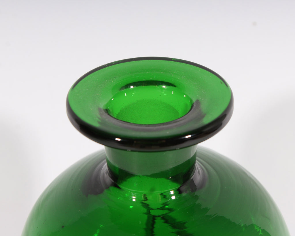 Jacob Bang Holmegaard Danish Kluk Kluk Green Glass Decanter