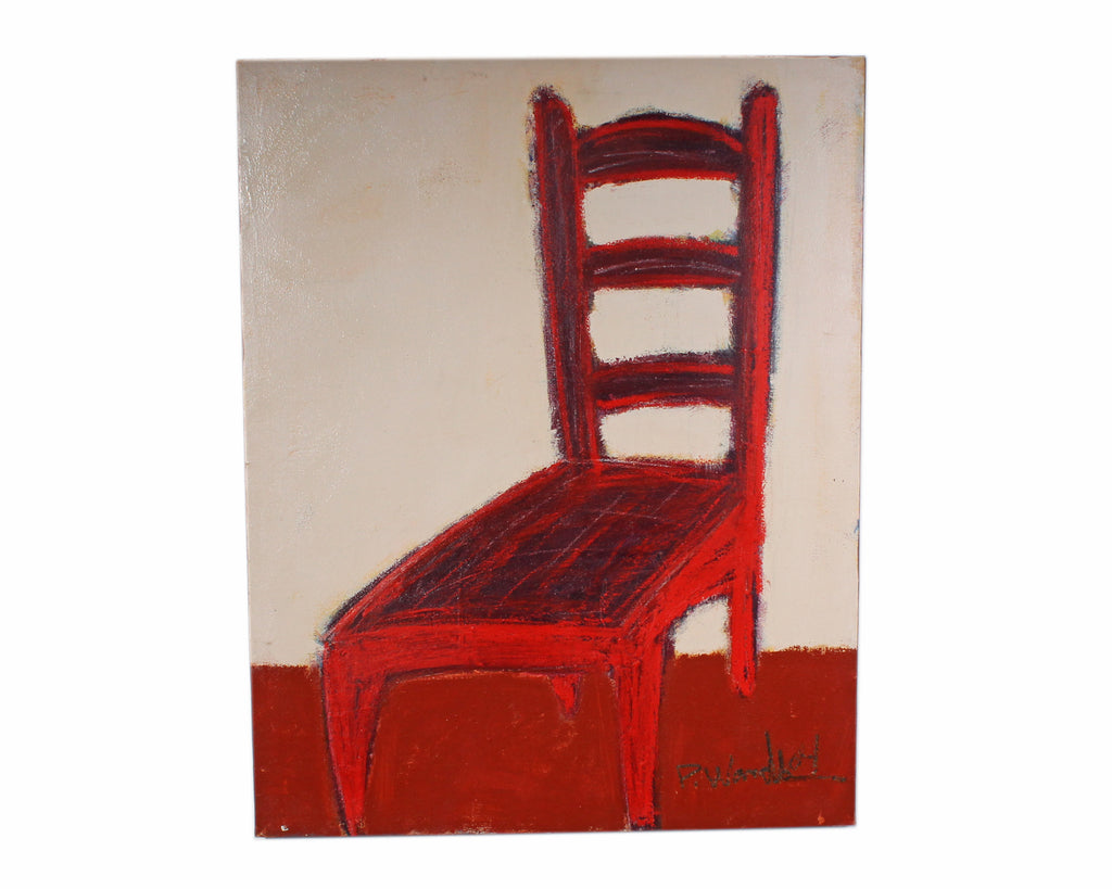 "Paul Wandless 2004 Signed Acrylic on Canvas ""Red Chair"" Abstract Painting"