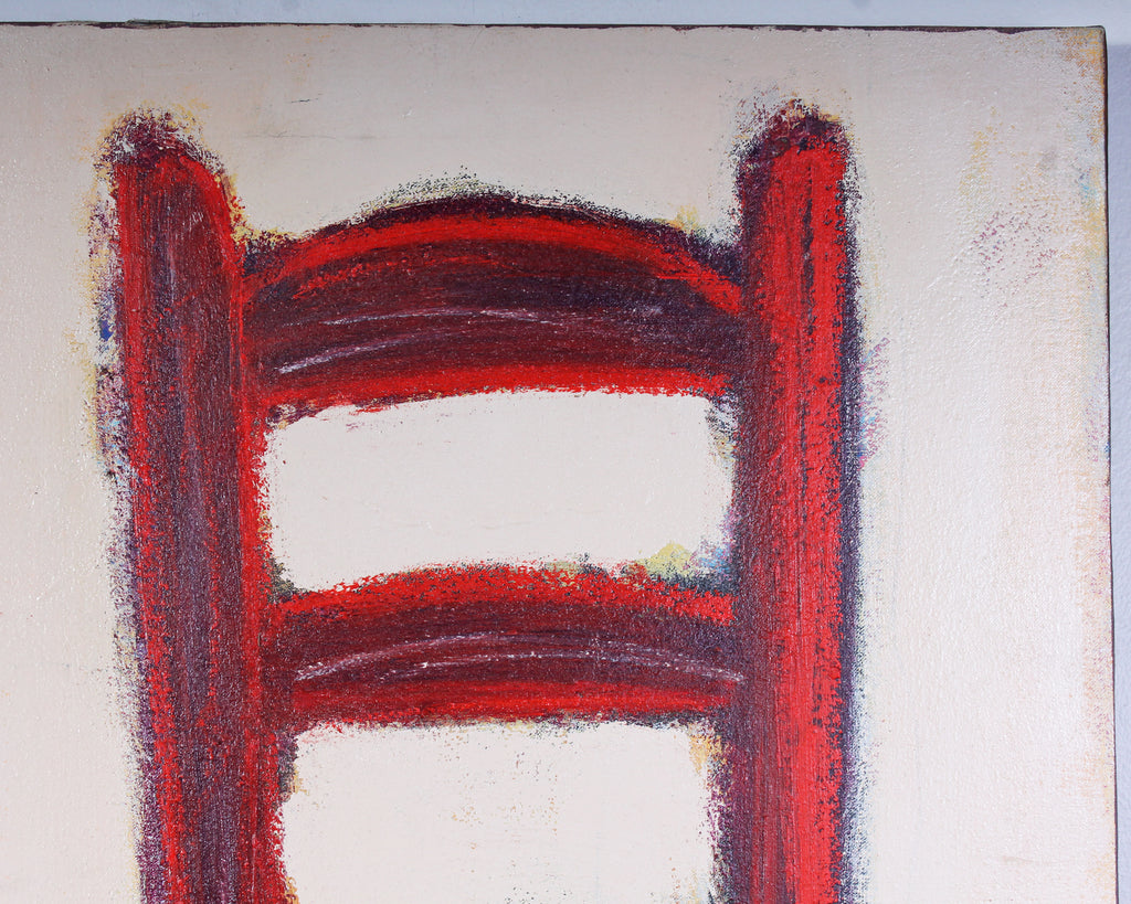 "Paul Andrew Wandless 2004 Signed Acrylic on Canvas ""Red Chair"" Abstract Painting"