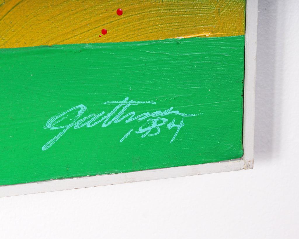 """Cherry Beach"" 1984 Signed Abstract Oil and Collage on Canvas Abstract Painting"
