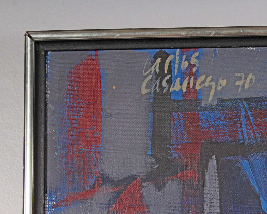 Carlos Casariego 1970 Signed Oil on Canvas Abstract Still Life Painting