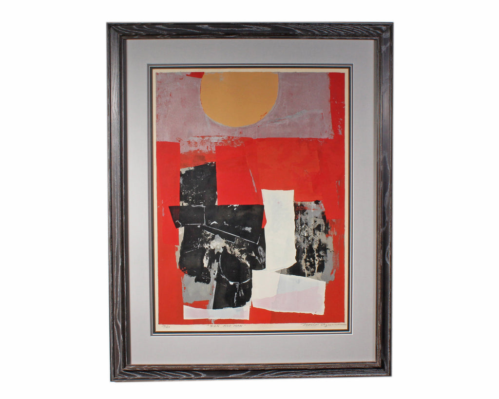 "Norio Azuma Signed Limited Edition ""Sun and Man"" Abstract Serigraph"