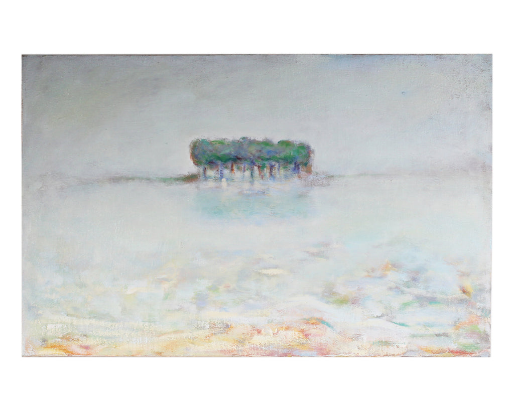 "Ronald D. Newman Signed Oil on Canvas ""Island Mist"" Abstract Landscape Painting"