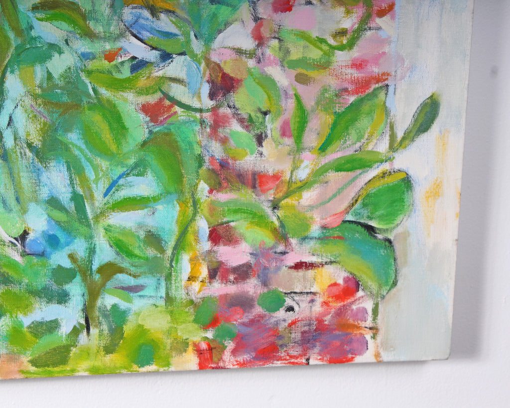 "Ronald D. Newman Signed Oil on Canvas ""Indoor Garden"" Abstract Painting"