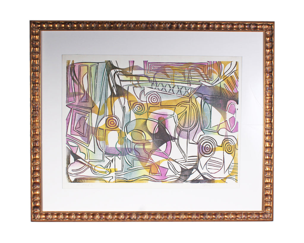 "Ed Funk 2007 Signed Limited Edition ""Once Around"" Abstract Woodblock Print"