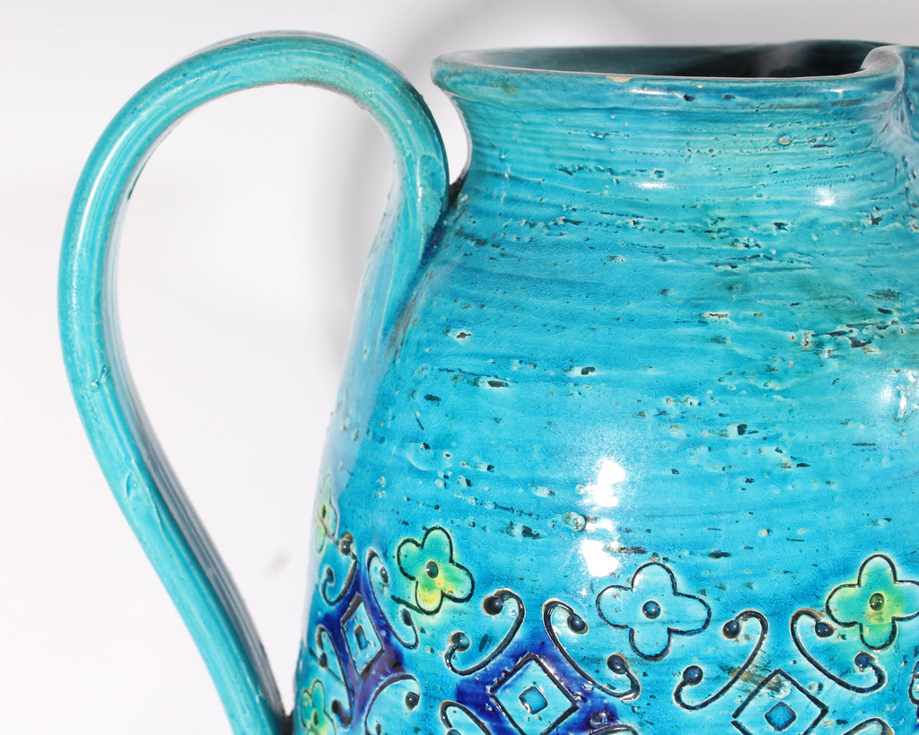 Bitossi Italian Blue Pitcher with Incised Floral Design