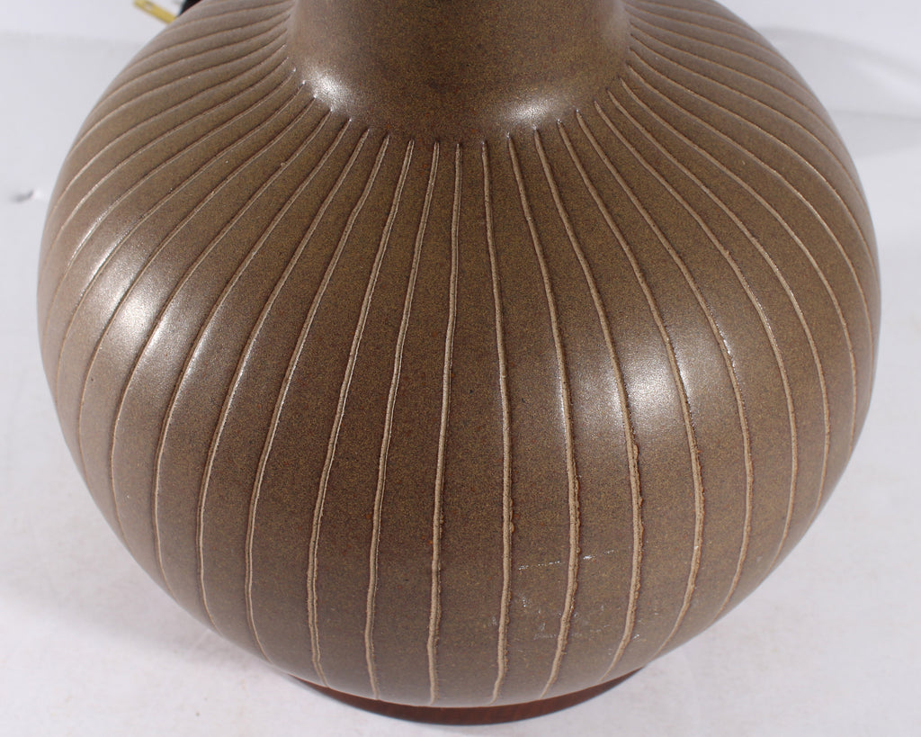 Martz Marshall Studios Brown Pottery Table Lamp with Incised Design