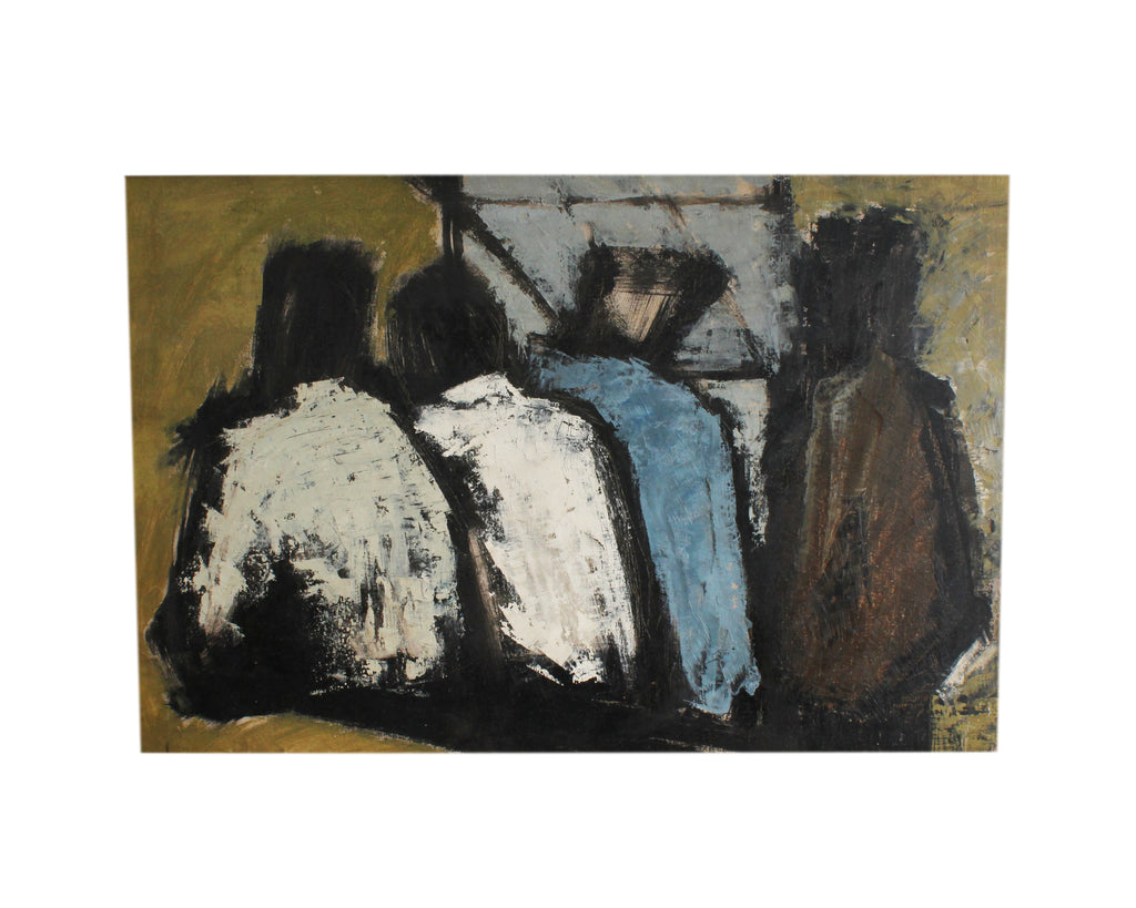 Carolyn R. Shine Oil on Board Abstract Painting of Four Figures