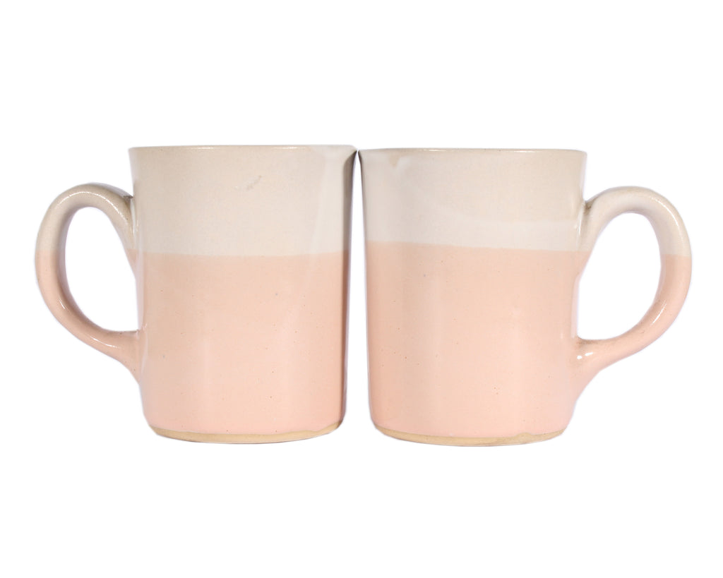 Martz Marshall Studios Pink and White Coffee Mugs