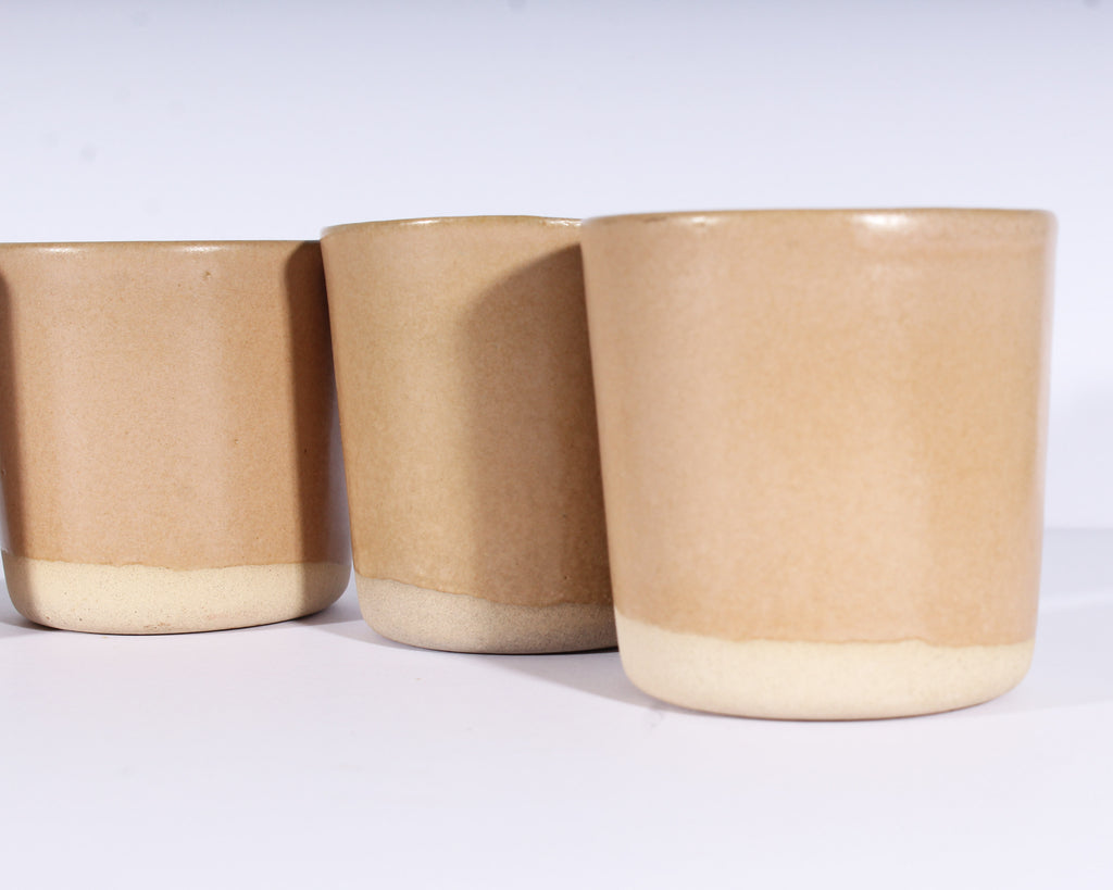 Martz Marshall Studios Set of Four Tan Tumblers
