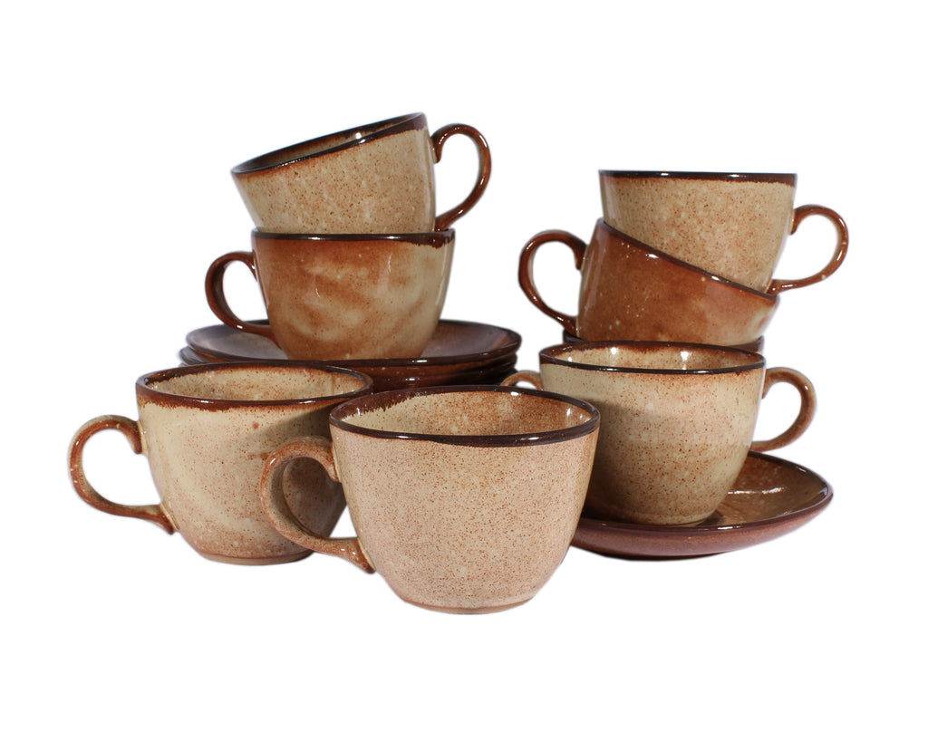 Martz Marshall Studios Set of Eight Brown Teacups and Saucers