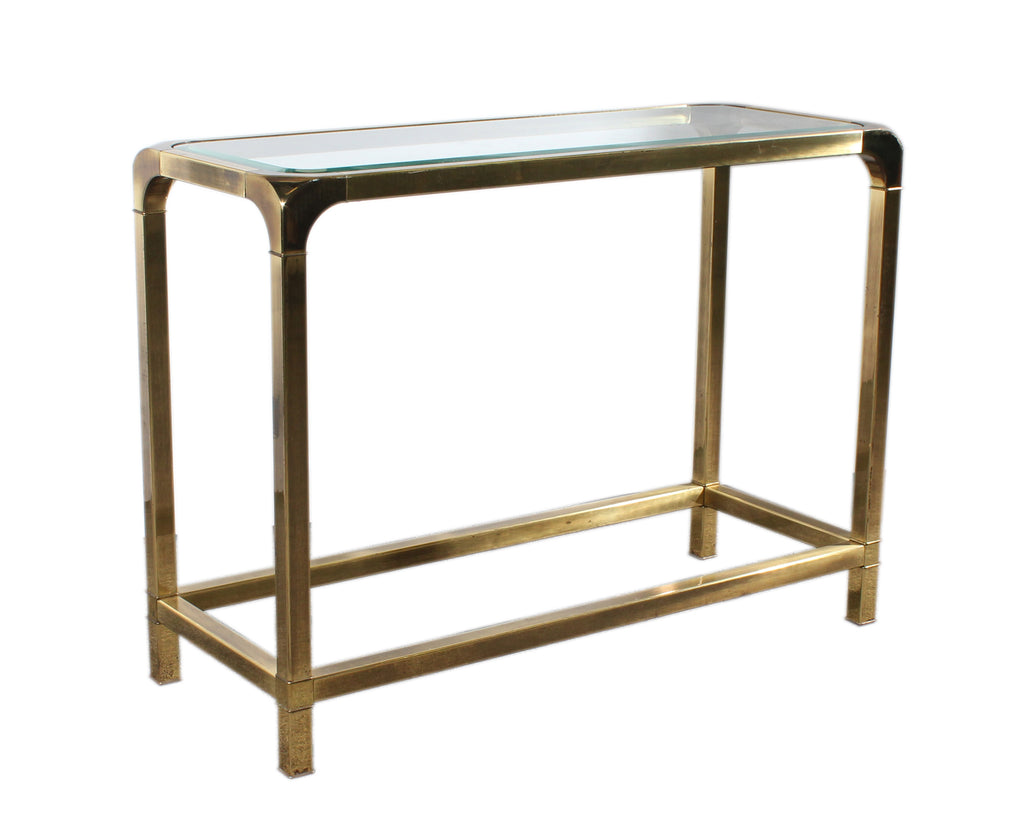 Mastercraft Brass Tone Metal Console Table with Glass Top