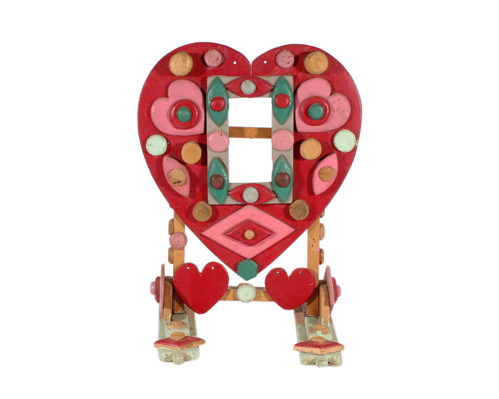 Vintage Folk Art Heart Wooden Frame