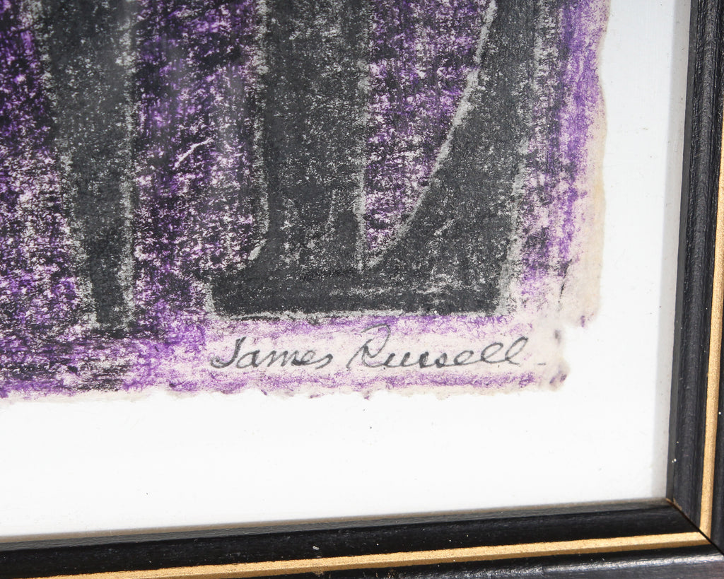 "James Spencer Russell Signed ""Me vs Everyone"" Conte Crayon Drawing"