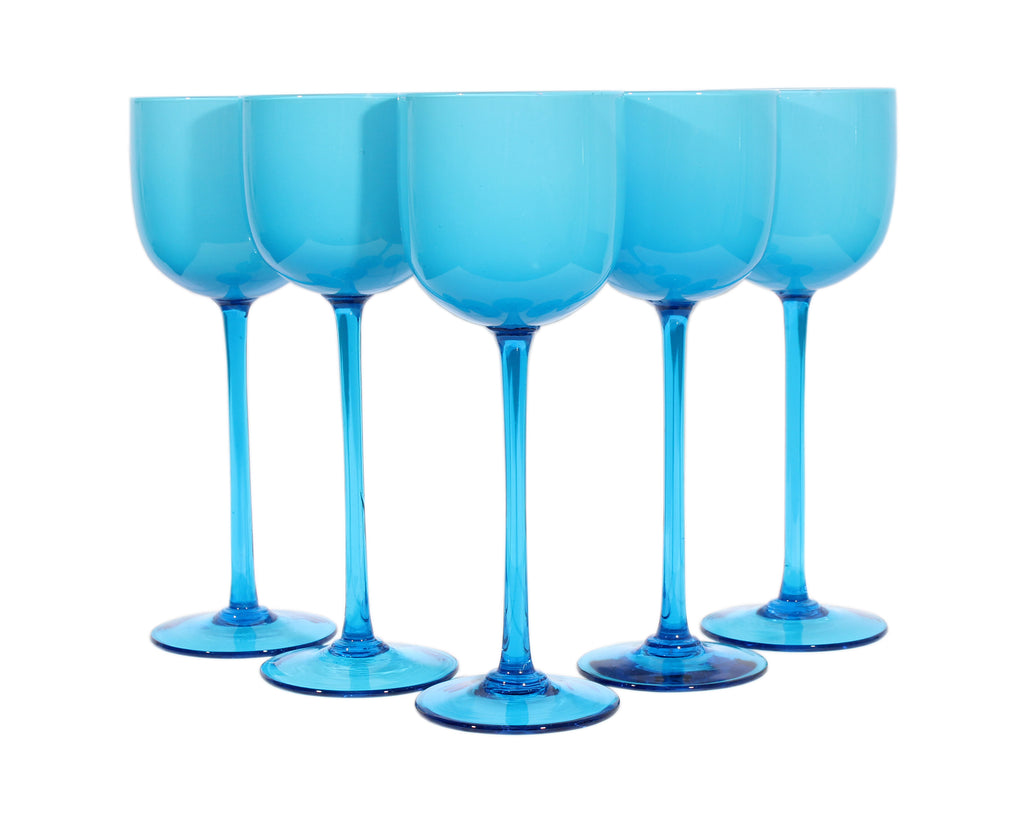 Carlo Moretti Italian Mid-Century Blue Glass Wine Glasses