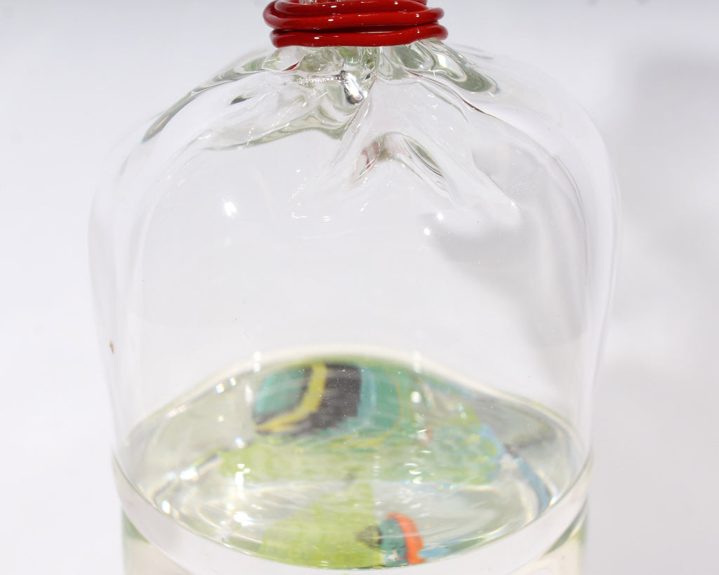 Brian J. Kelk 2004 Signed Art Glass Fish in a Bag Sculpture
