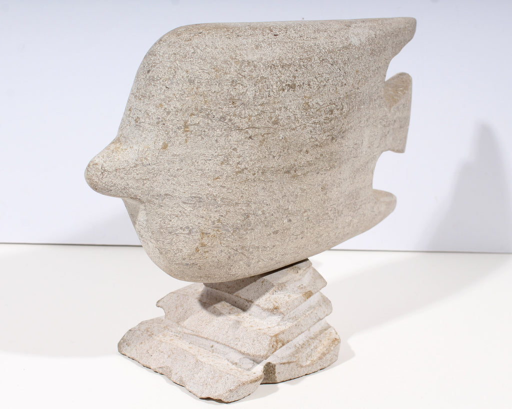 Charles Schiefer 1970s Signed Limestone Angelfish Sculpture