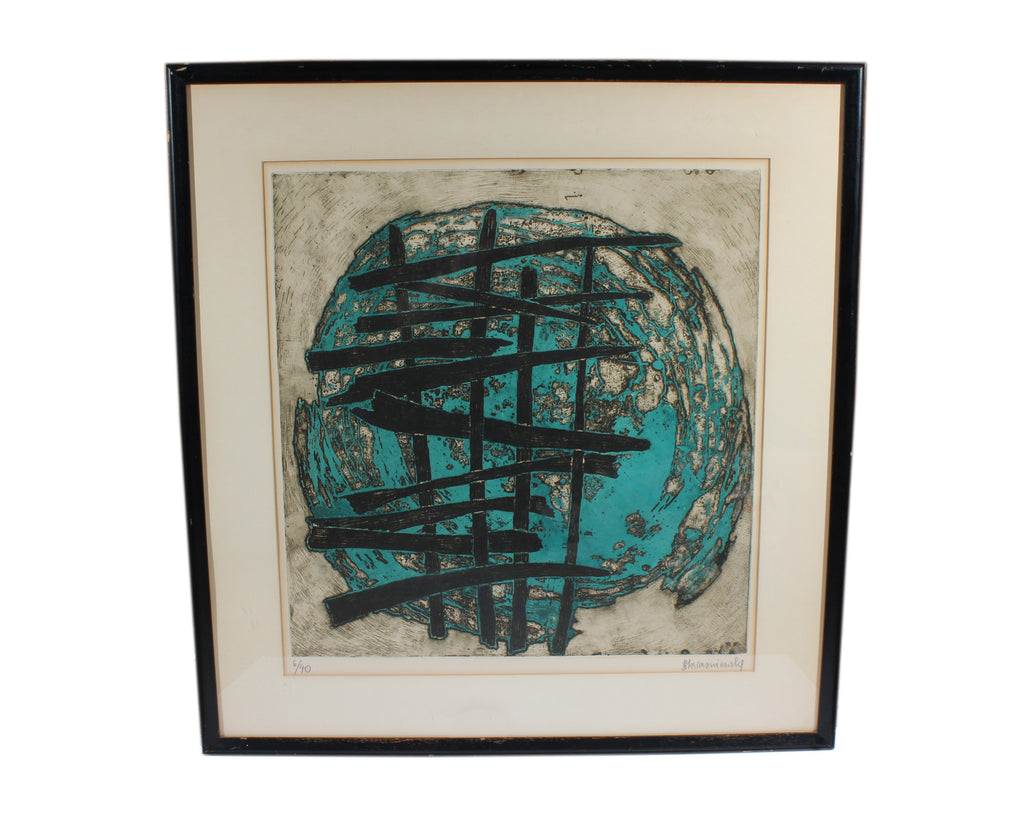 B. Krasniensky Signed Mid-Century Abstract Aquatint Etching
