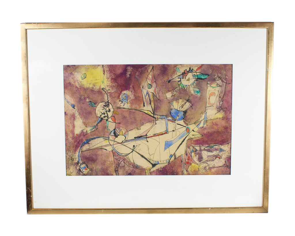 Signed 1963 Mid-Century Abstract Watercolor and Ink Painting