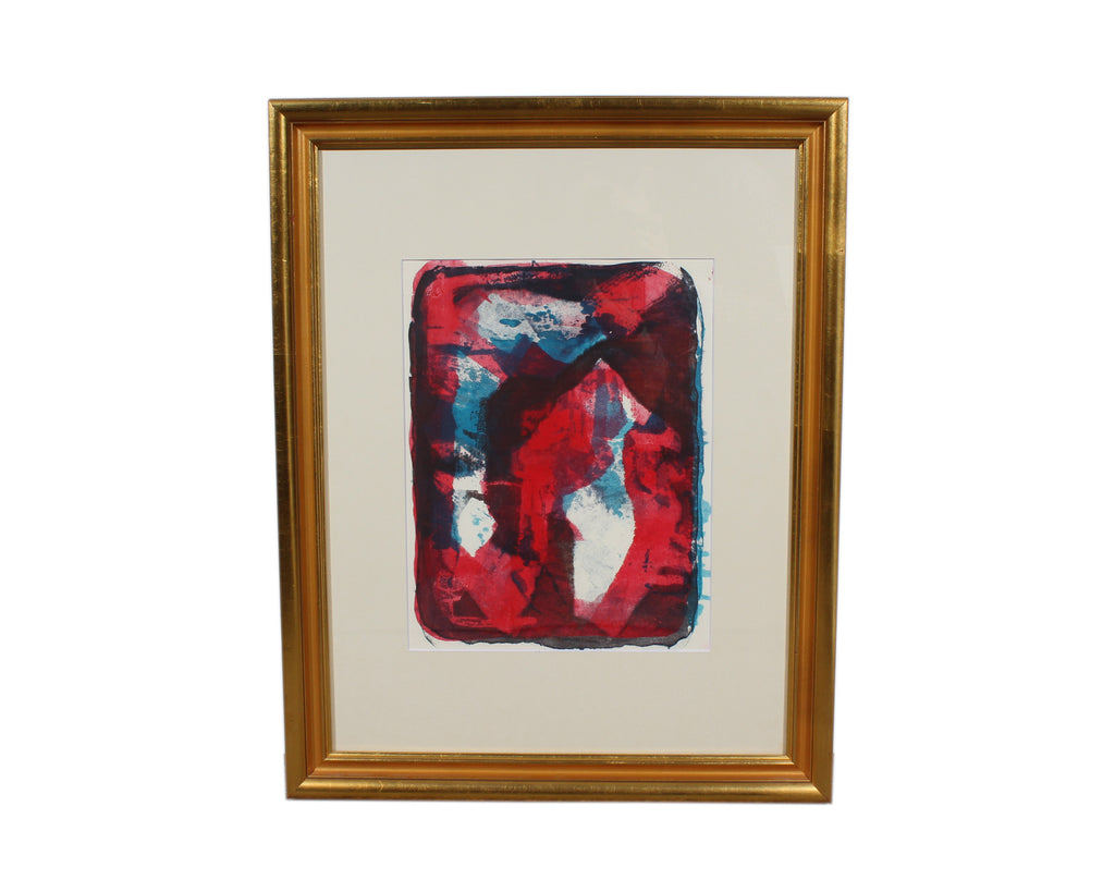 Paul Chidlaw Red and Blue Abstract Serigraph