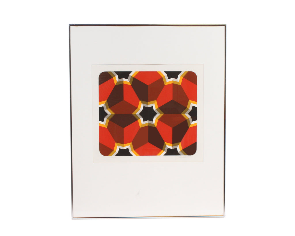 "Marko Spalatin Signed Limited Edition Op Art Serigraph ""Hexagon IV"""