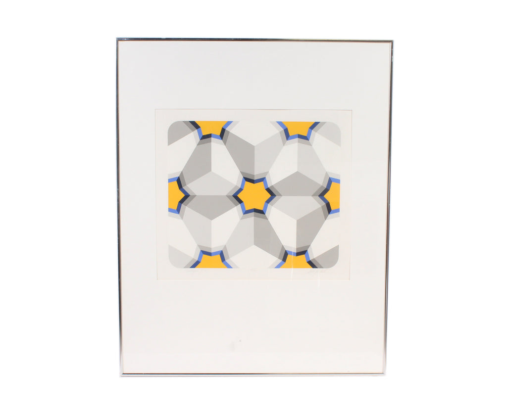 "Marko Spalatin Signed Limited Edition Op Art Serigraph ""Hexagon II"""