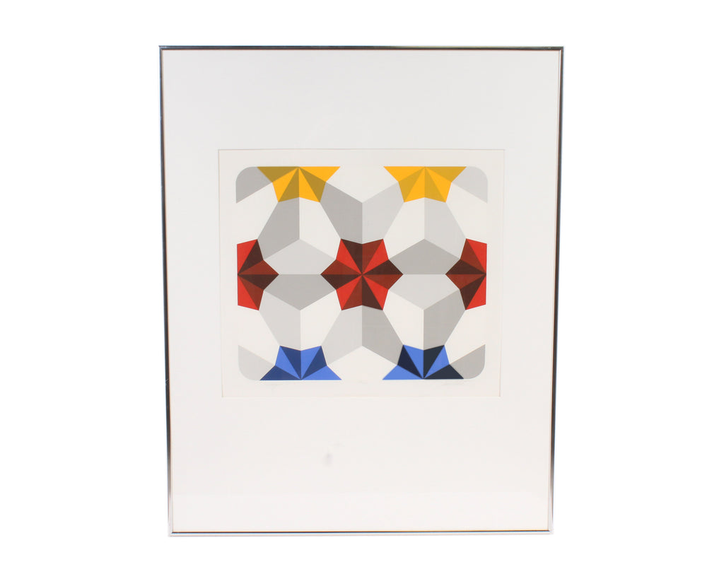 "Marko Spalatin Signed Limited Edition Op Art Serigraph ""Hexagon V"""