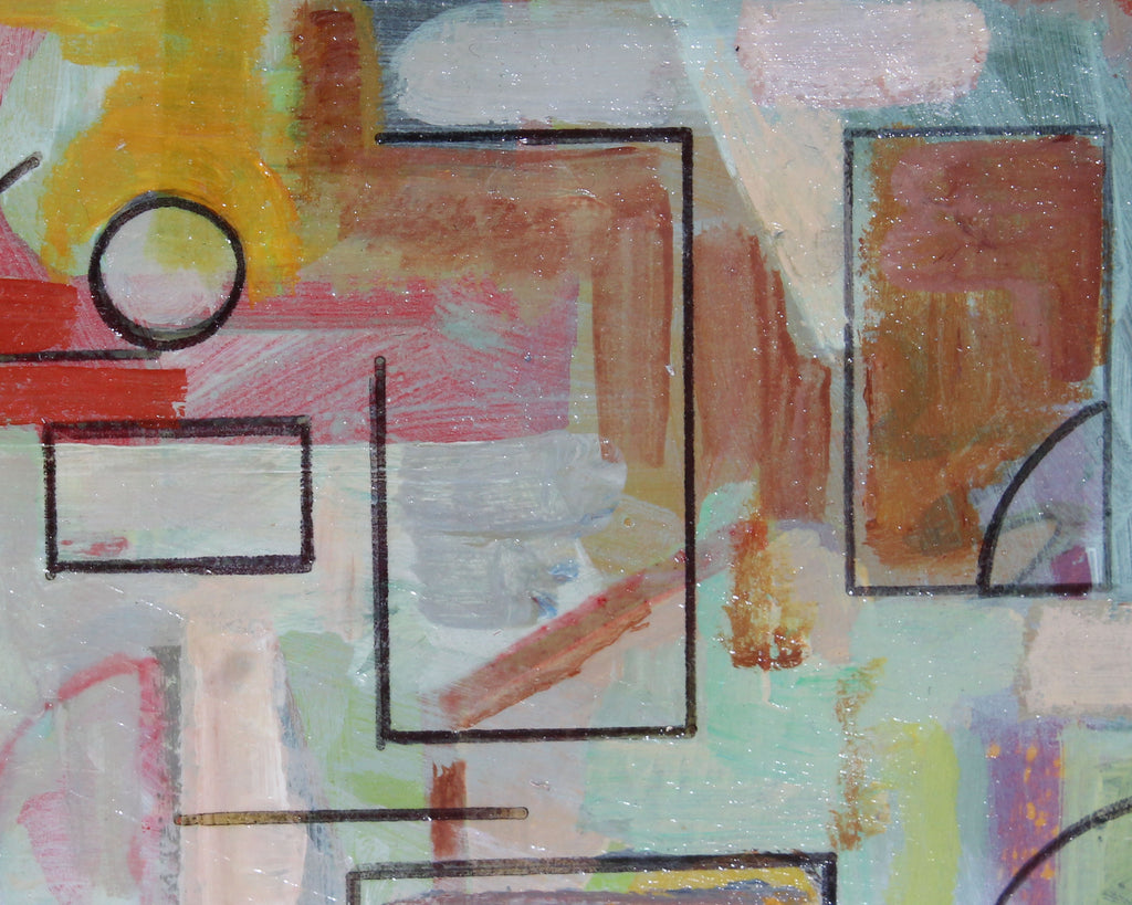 Doris Vlasek-Hails 1992 Signed Acrylic on Board Abstract Geometric Painting