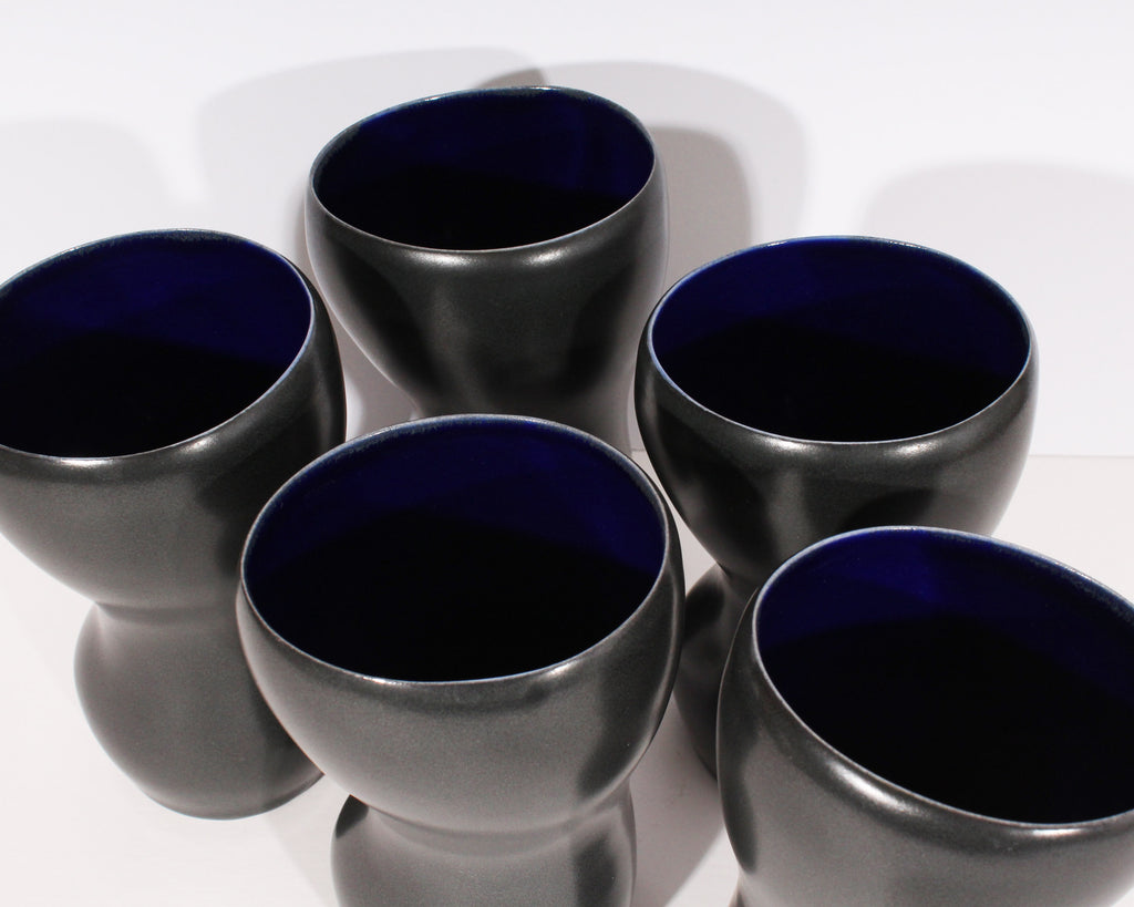 Annette Siffin Signed Biomorphic Porcelain Tumbler Set