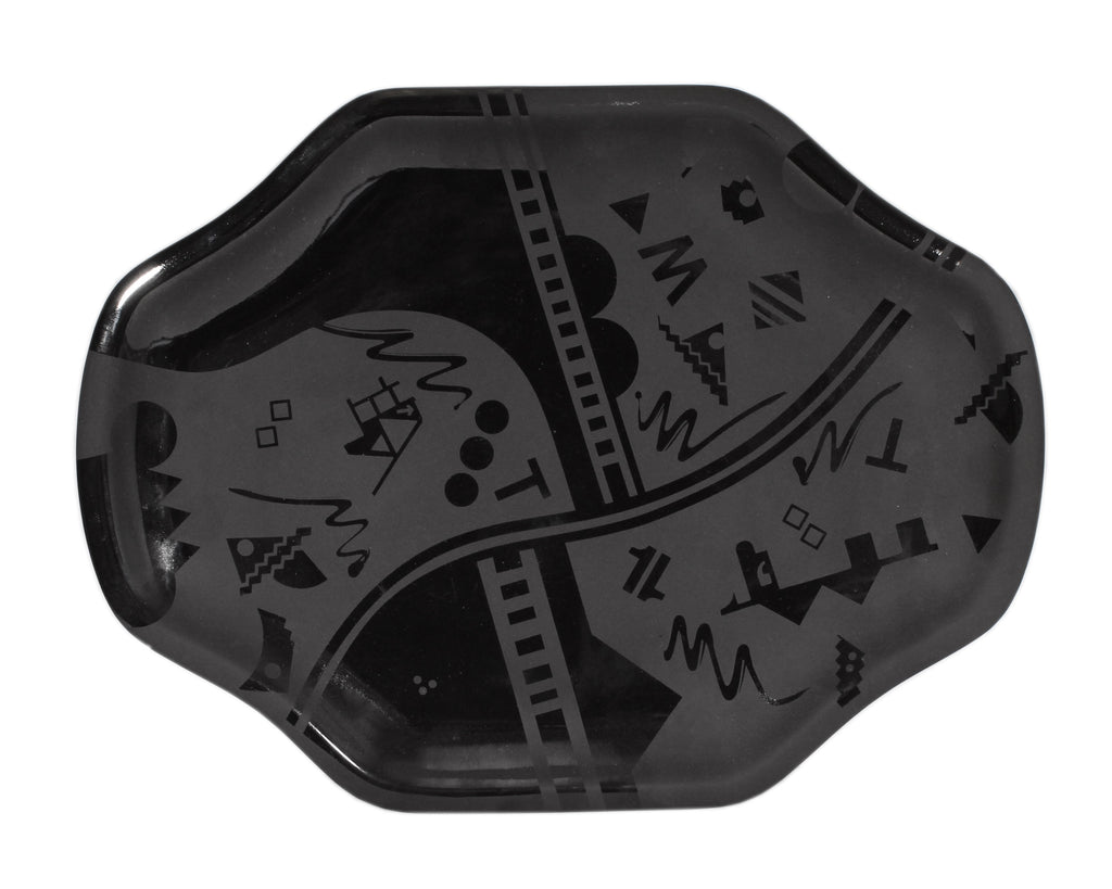 Stephen Fabrico Signed Postmodern Black on Black Ceramic Tray