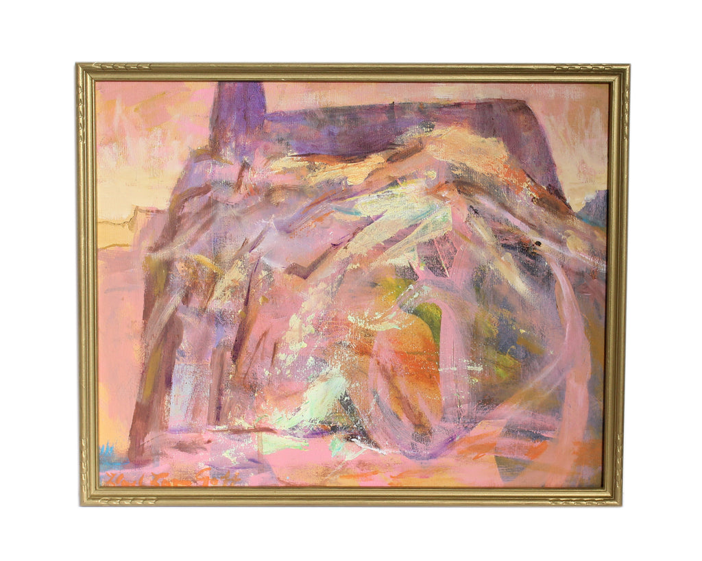 "Lloyd Lozes Goff Signed ""Acoma"" Oil on Canvas Abstract Painting"