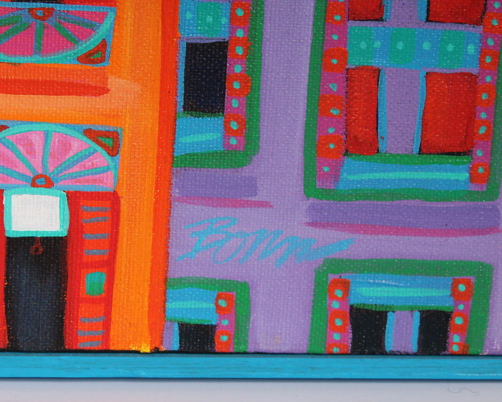 "Bob Bonn ""The Big City"" Oil on Canvas Abstract Cityscape Painting"
