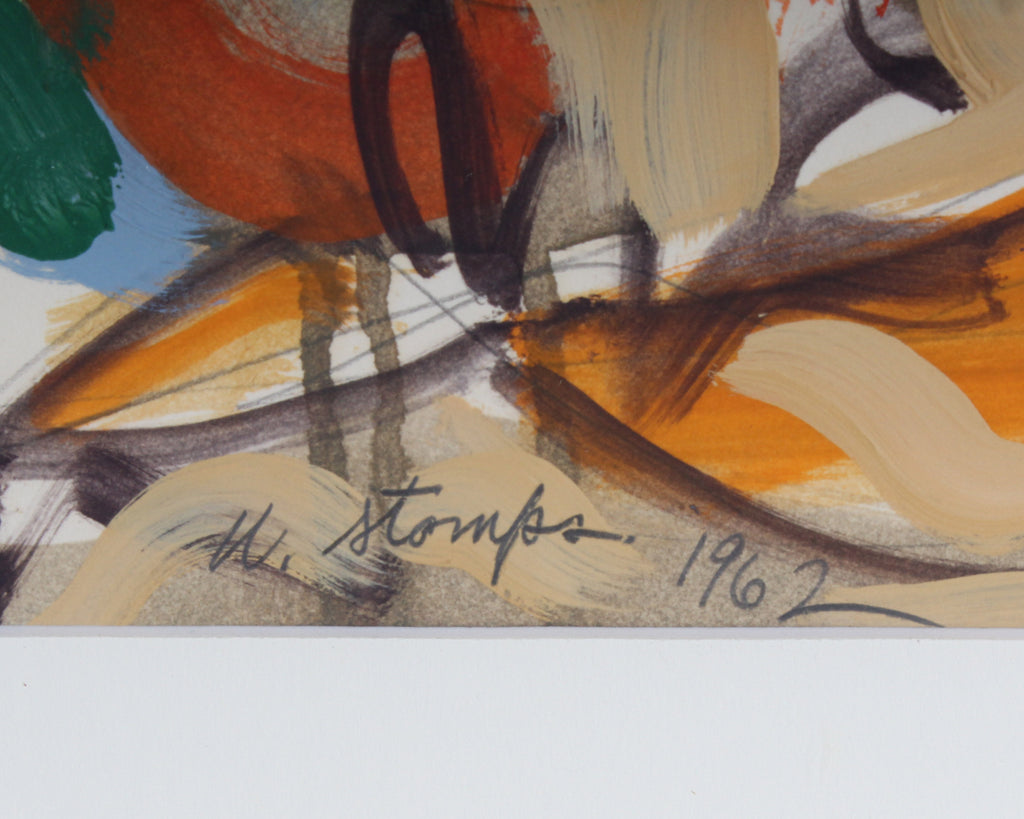 Walter Stomps 1962 Signed Graphite and Gouache Abstract Painting